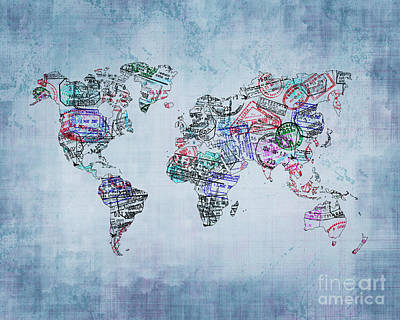 Traveler World Map Blue 8x10 Poster