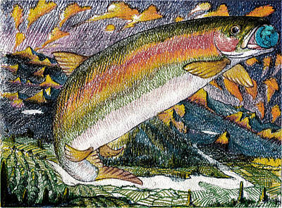 Traveling Trout Poster by Gregg Caudell