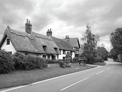 Travellers Delight - English Country Road Black And White Poster by Gill Billington