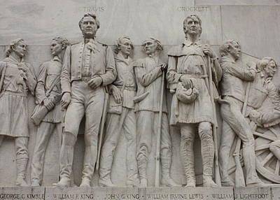 Travis And Crockett On Alamo Monument Poster by Carol Groenen