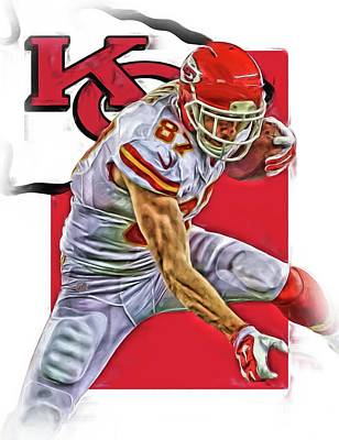 Travis Kelce Kansas City Chiefs Oil Art Poster