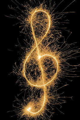 Treble Clef Drawn With A Sparkler Poster by Martin Diebel