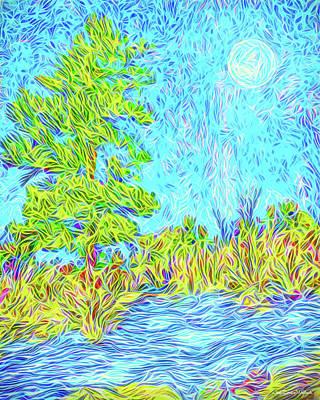 Poster featuring the digital art Tree Aglow In Moonlight - Mountain Scene In Boulder County Colorado by Joel Bruce Wallach