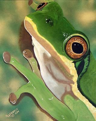 Tree Frog Eyes Poster by Debbie LaFrance