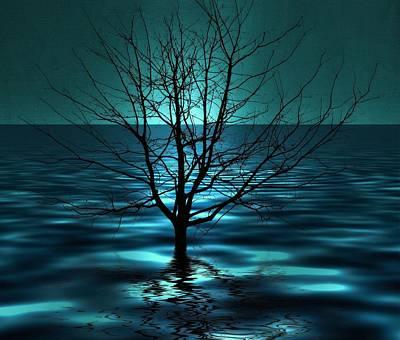 Tree In Ocean Poster