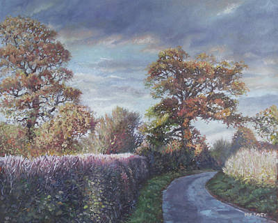 Poster featuring the painting Tree Lined Countryside Road by Martin Davey