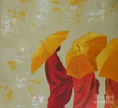 Tree Monks With Umbrella Poster by Jolanta Shiloni