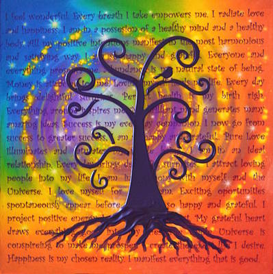 Tree Of Life And Positive Affirmations Poster by Agata Lindquist