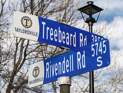 Treebeard And Rivendell Street Signs Poster by Gary Whitton