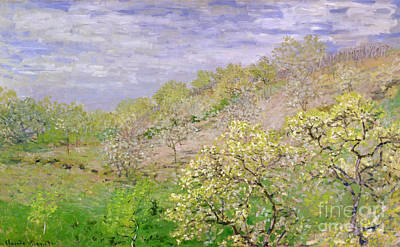 Trees In Blossom Poster by Claude Monet