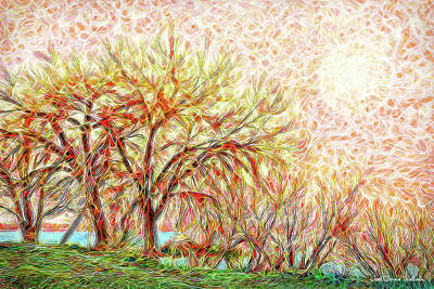Poster featuring the digital art Trees In Winter Under Full Moon At Dusk by Joel Bruce Wallach