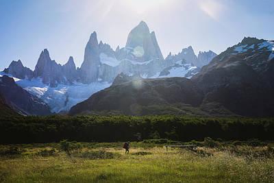 Trekking Under Fitz Roy In Patagonia Poster