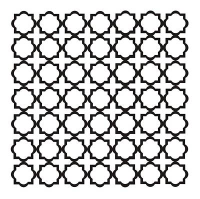 Black And White Quatrefoil Pattern Poster by Priscilla Wolfe