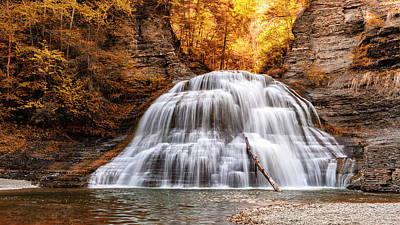 Treman Lower Falls - Indian Summer Poster by Stephen Stookey