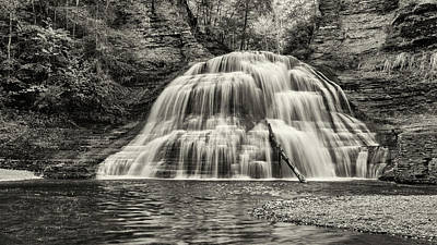 Treman Lower Falls - Sepia Poster by Stephen Stookey
