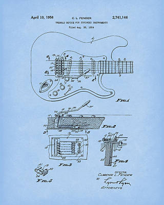 Poster featuring the drawing Tremolo Device 1956 Patent Art Lightblue by Prior Art Design