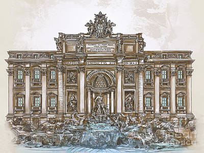 Poster featuring the painting  Trevi Fountain,rome  by Andrzej Szczerski