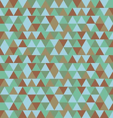 Triangular Geometric Pattern - Blue Green Brown Poster