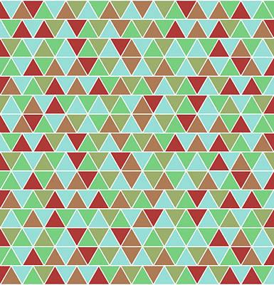 Triangular Geometric Pattern - Blue, Green, Maroon, Brown Poster