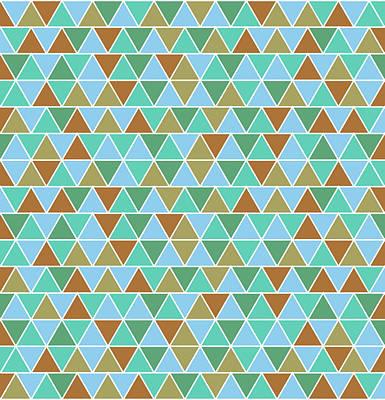 Triangular Geometric Pattern - Warm Colors 02 Poster