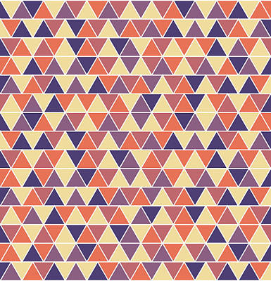 Triangular Geometric Pattern - Warm Colors 04 Poster