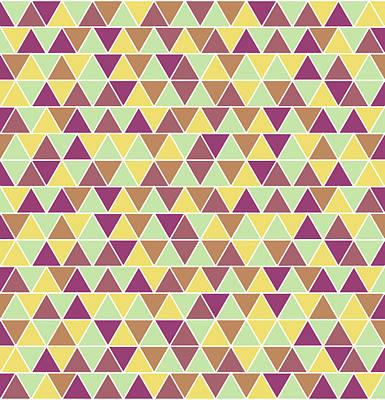 Triangular Geometric Pattern - Warm Colors 05 Poster