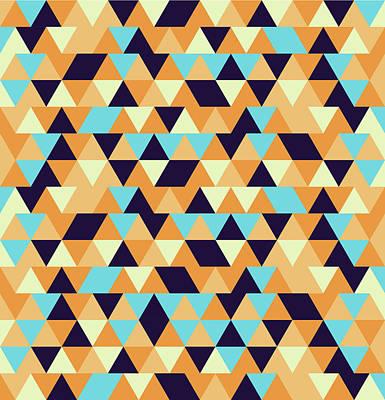 Triangular Geometric Pattern - Warm Colors 06 Poster