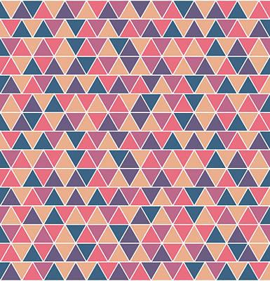 Triangular Geometric Pattern - Warm Colors 07 Poster