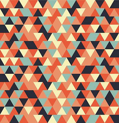 Triangular Geometric Pattern - Warm Colors 09 Poster