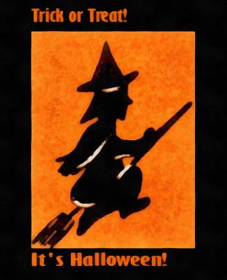 Trick Or Treat Flying Witch Poster by Unknown
