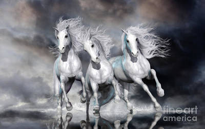 Poster featuring the digital art Trinity Galloping Horses Blue by Shanina Conway