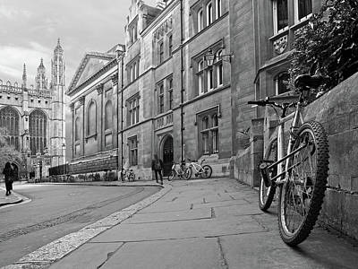 Poster featuring the photograph Trinity Lane Clare College Great Hall In Black And White by Gill Billington