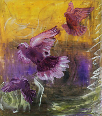Trinity Of Contemporary Flying Dove Birds In Yellow Purple And Blue Poster by MendyZ M Zimmerman