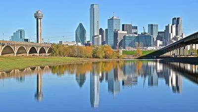 Trinity River View Of Dallas Poster by Frozen in Time Fine Art Photography
