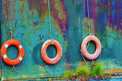 Trio Of Life Buoys Poster