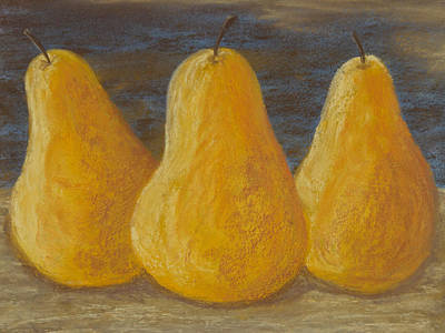 Trio Of Yellow Pears Poster by Cheryl Albert