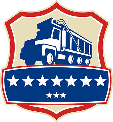 Triple Axle Dump Truck Stars Crest Retro Poster