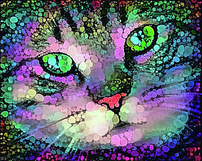 Trippy Cat With Colorful Dots Poster by Matthias Hauser