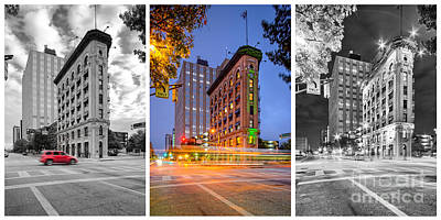 Triptych Of The Flatiron Building In Downtown Fort Worth - Texas  Poster by Silvio Ligutti