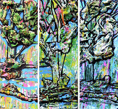 Triptych Of Three Trees By A Brook Poster