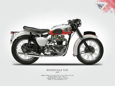 Triumph Bonneville 1959 Poster by Mark Rogan
