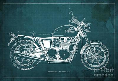 Triumph Bonneville Se 2010 Blueprint, Green Background Poster by Pablo Franchi
