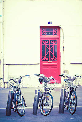 Poster featuring the photograph Trois - Three Bicycles In Paris by Melanie Alexandra Price