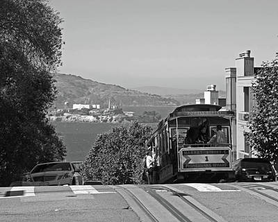 Trolley Descending Into San Francisco Black And White Poster by Toby McGuire