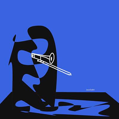 Trombone In Blue Poster by David Bridburg