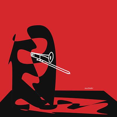Trombone In Red Poster by David Bridburg