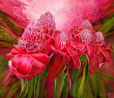 Poster featuring the mixed media Tropic Garden - Torch Ginger by Carol Cavalaris