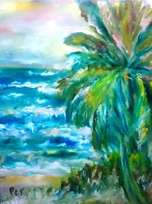 Tropical Beach With Palm Tree Poster