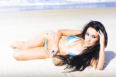 Tropical Beach Woman Poster