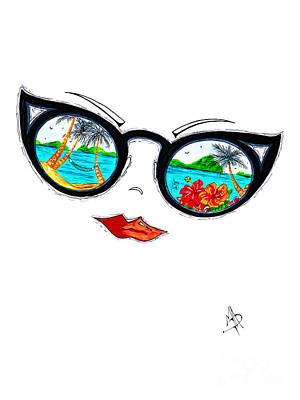 Tropical Cat Eyes Sunglass Reflection Aroon Melane 2015 Collection By Madart Poster by Megan Duncanson